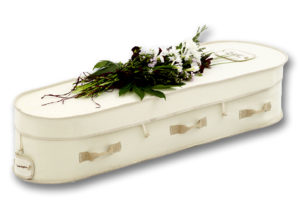 The White Hainsworth Wool Green Burial and Cremation Casket